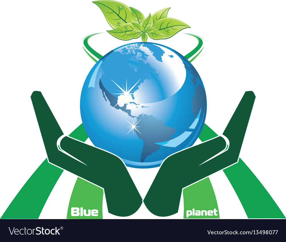 Ecological symbol - a blue planet in the palms