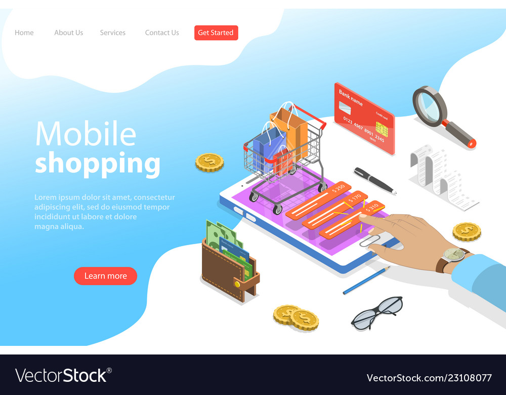 Flat isometric landing page template of