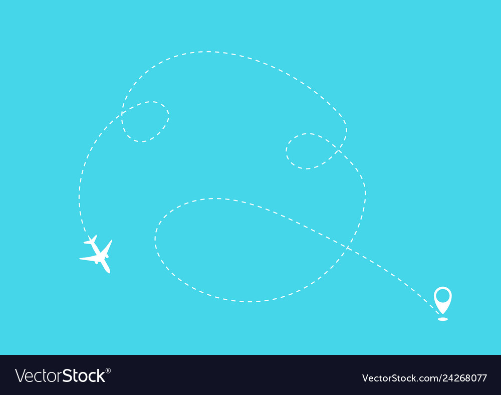Flat plane and its track on blue background