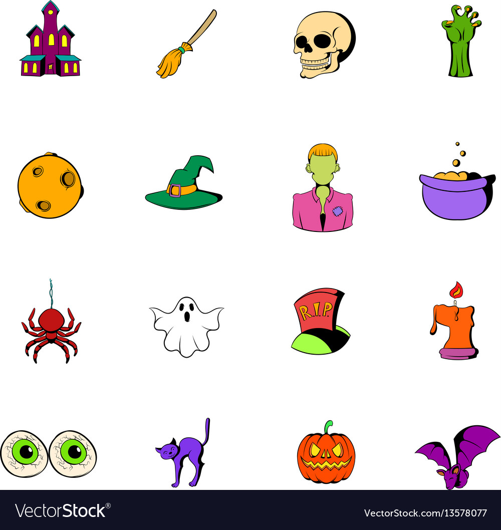 Halloween set icons set cartoon