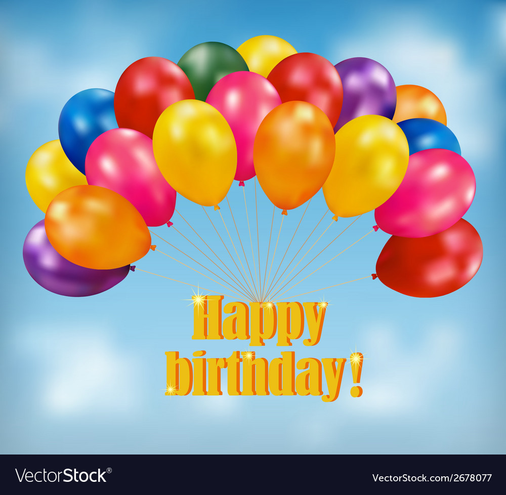 Happy Birthday Background With Balloons Vector Image
