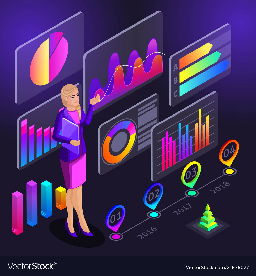 Infographics isometrics girl conducts trainin