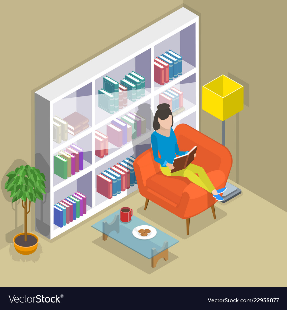 Isometric flat concept of reading favorite