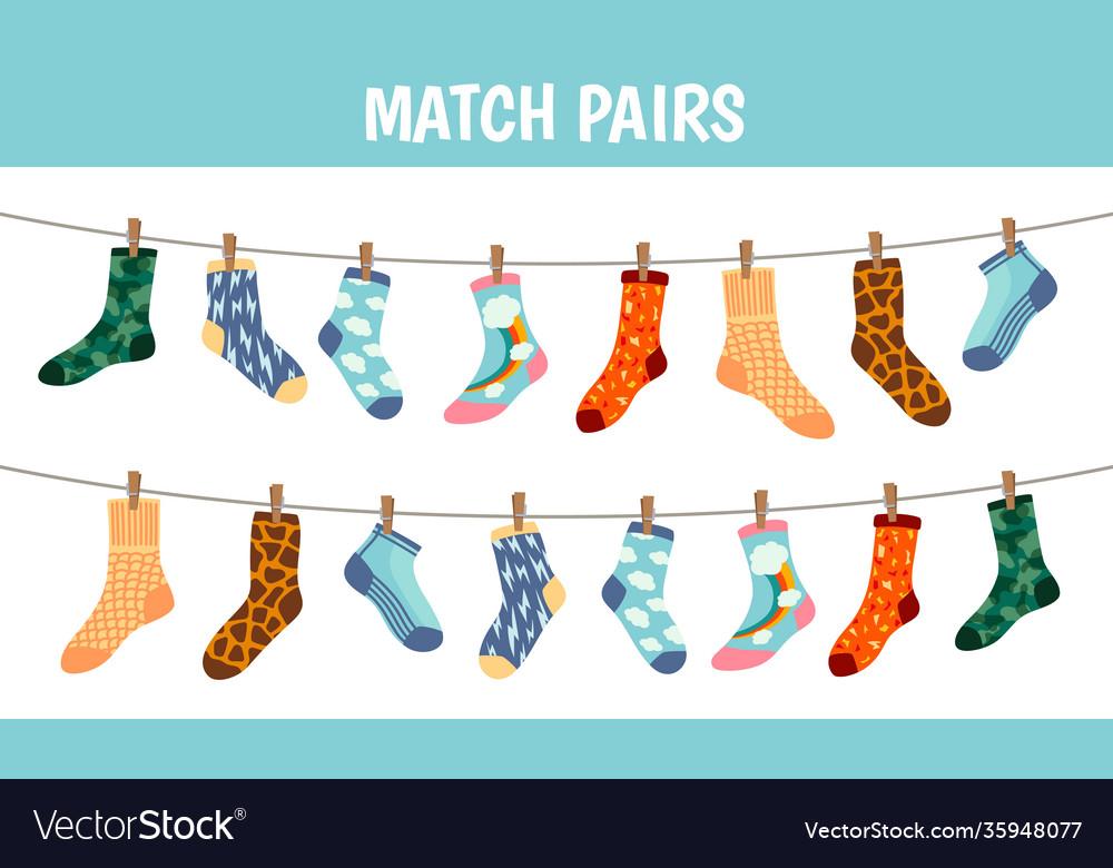 Matching socks game puzzle find pair preschool
