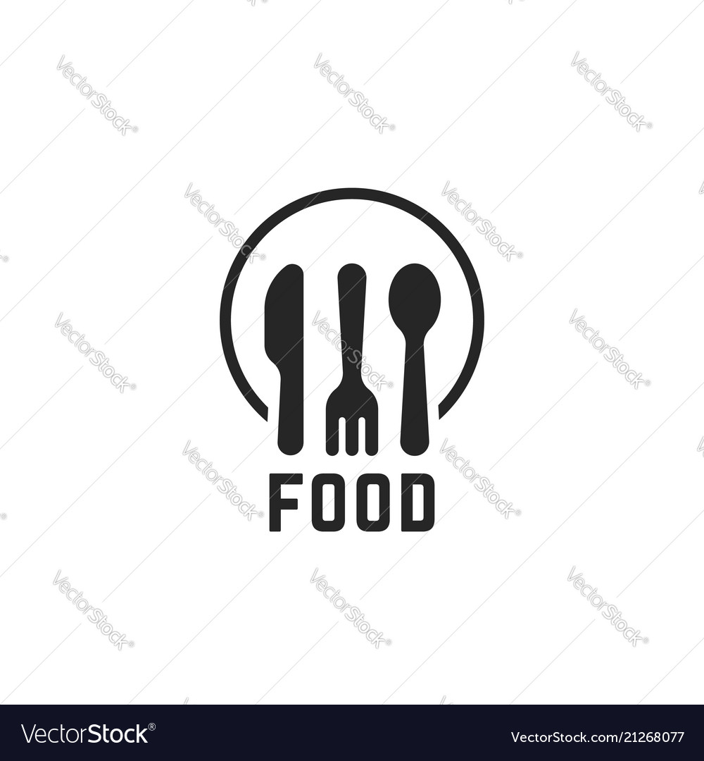 Simple black food logo with kitchenware vector image