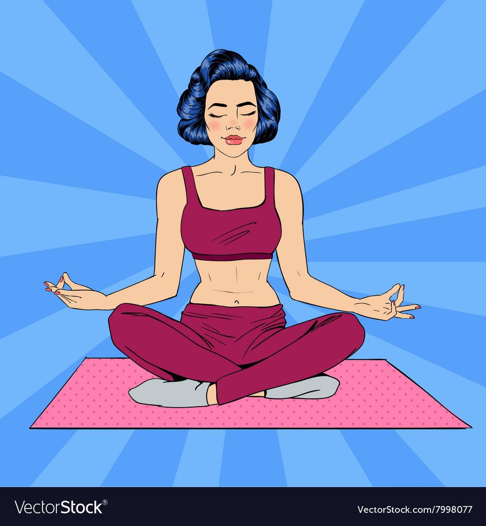 Woman In Yoga Pose Meditation Pop Art Banner Vector Image