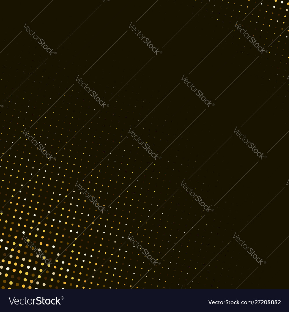 Abstract golden halftone pattern on black