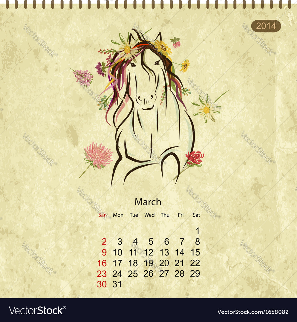Calendar 2014 march Art horses for your design Vector Image