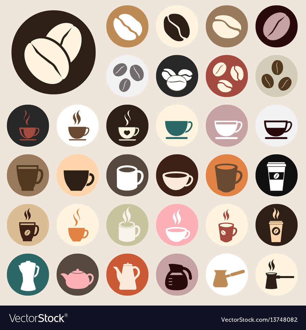 Coffee icons colored