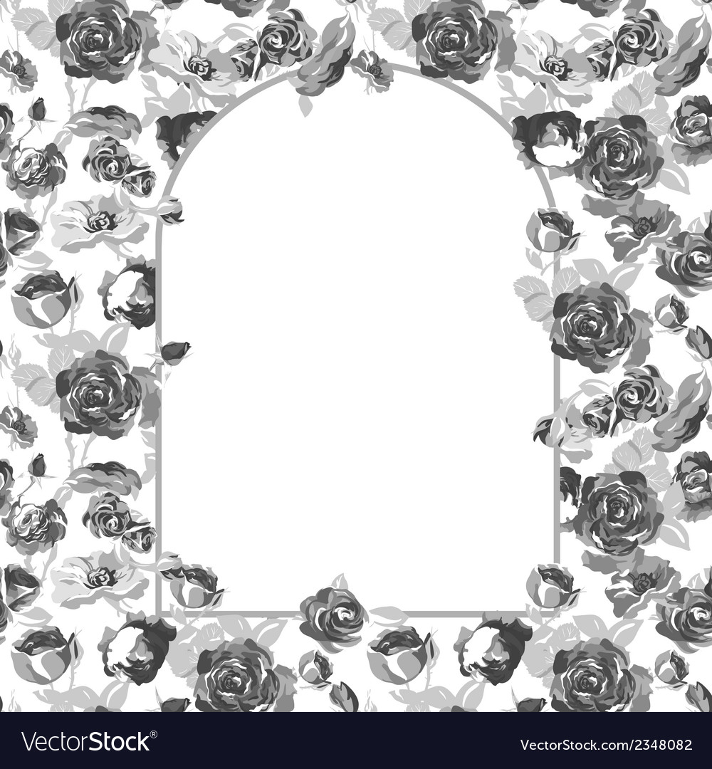 Floral greeting card with blossom roses