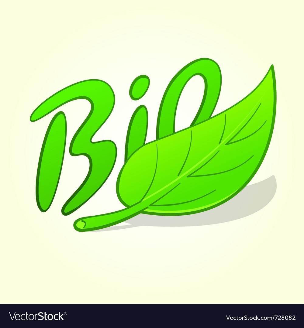 Green bio label vector image
