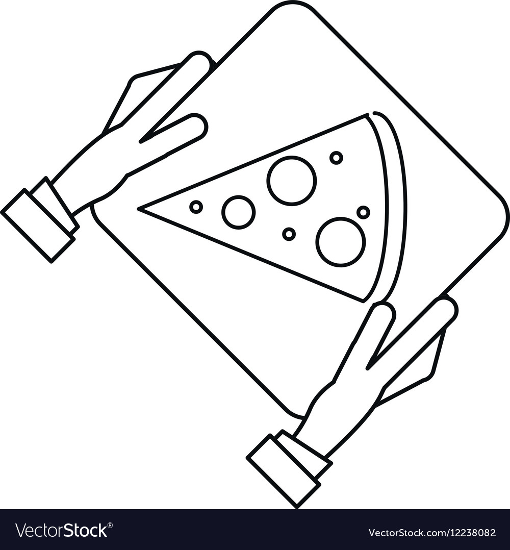 Hand boy delivery box pizza outline vector image