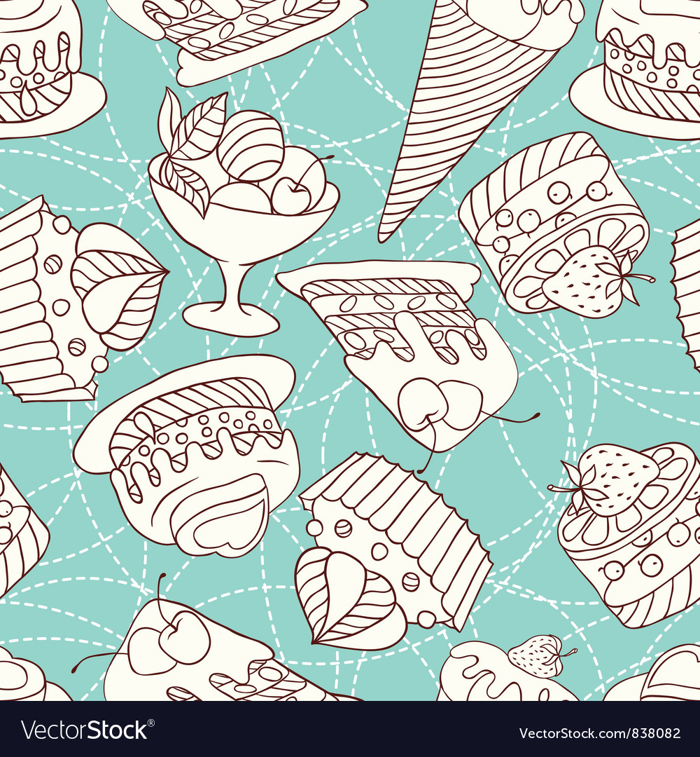 Holiday seamless pattern from sweet cakes and