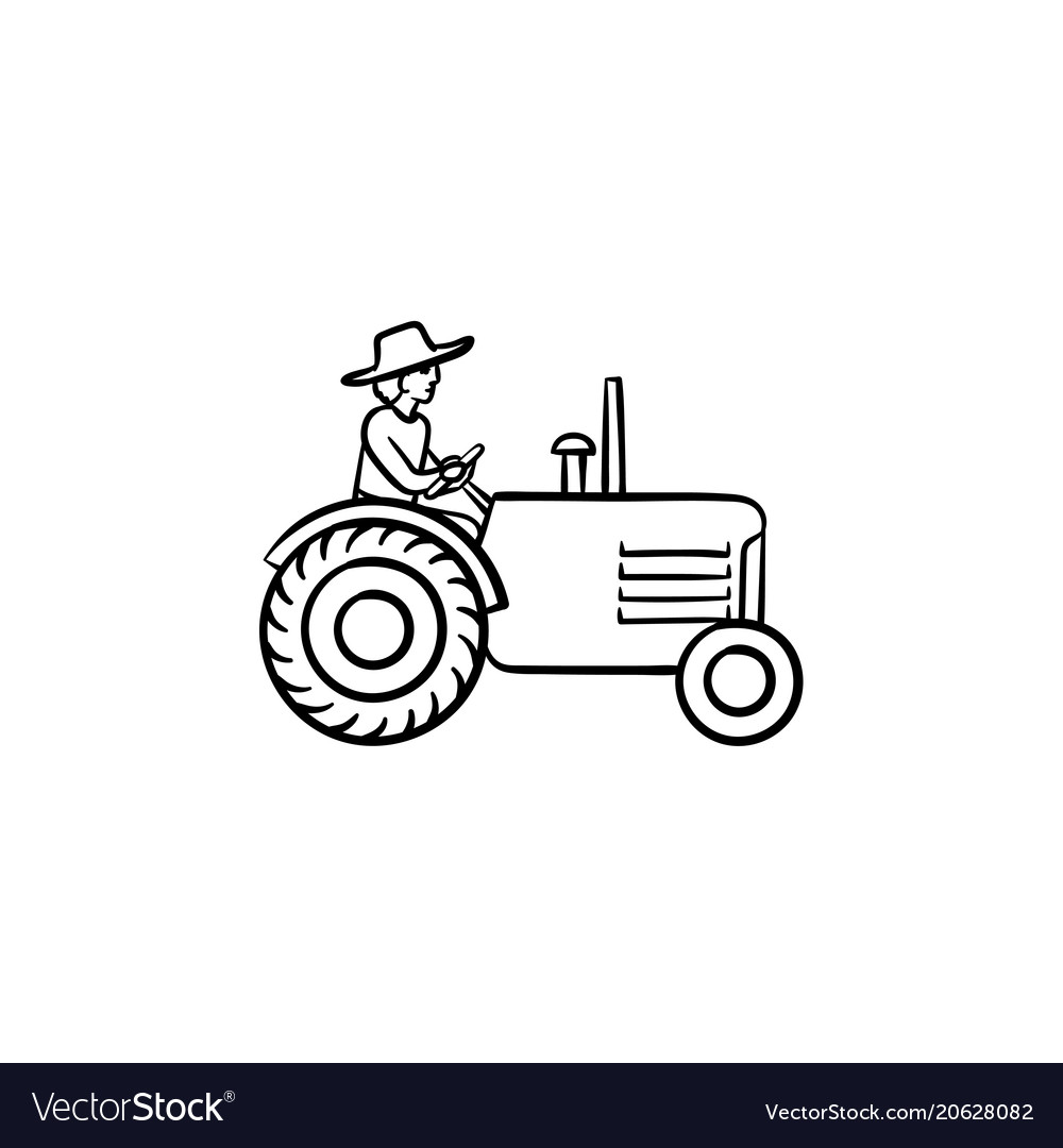 Man driving tractor hand drawn sketch icon