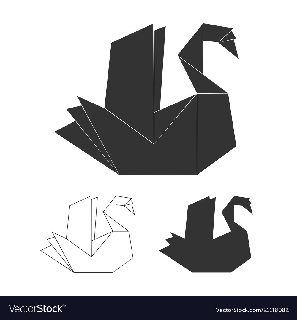 Paper origami swan on white background