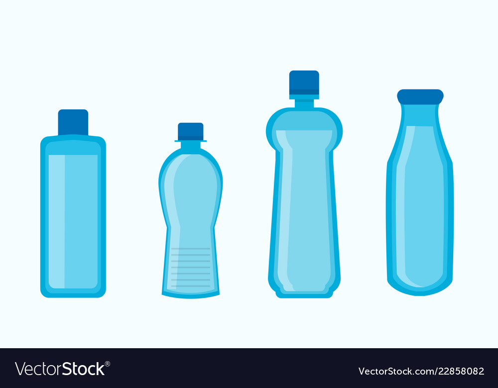Plastic water bottles collection in blue color