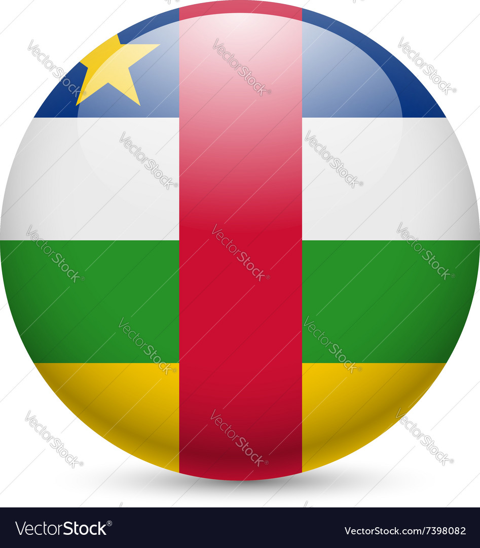 Round glossy icon of central african republic vector image