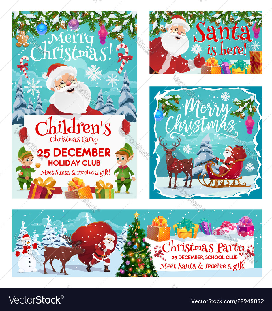 Santa claus merry christmas party invitation