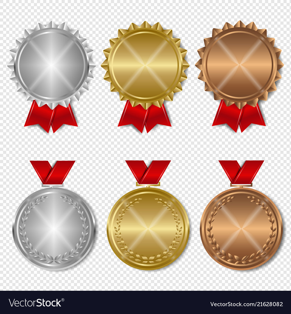 Set of award medals transparent background