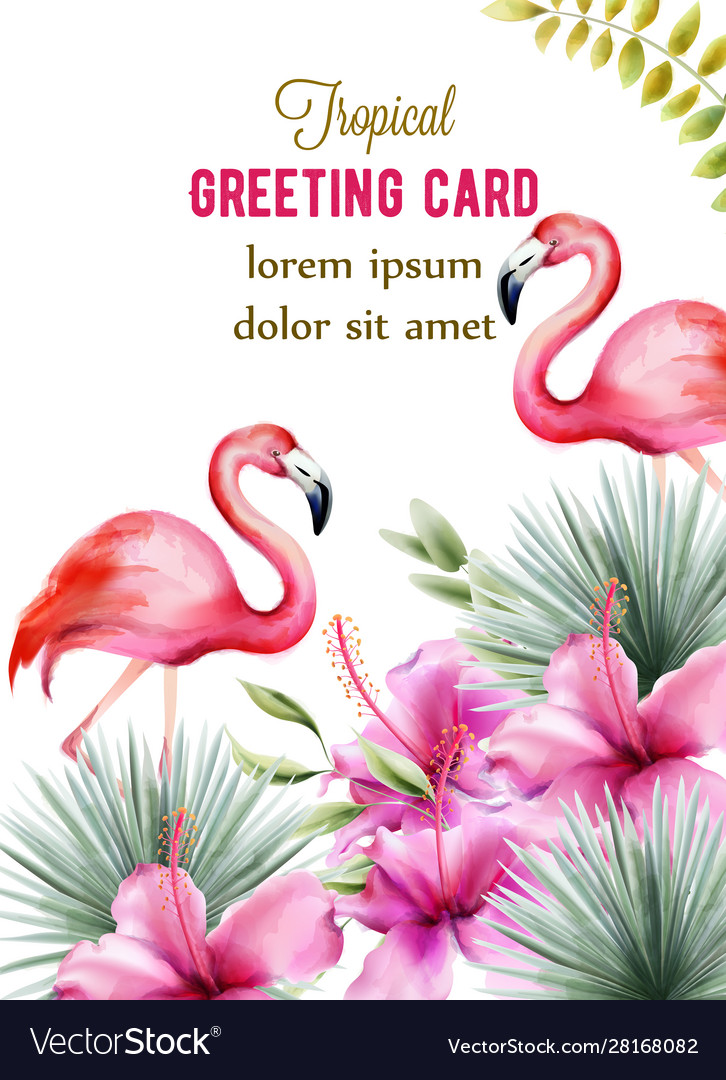 Tropical greeting card with pink hibiscus and