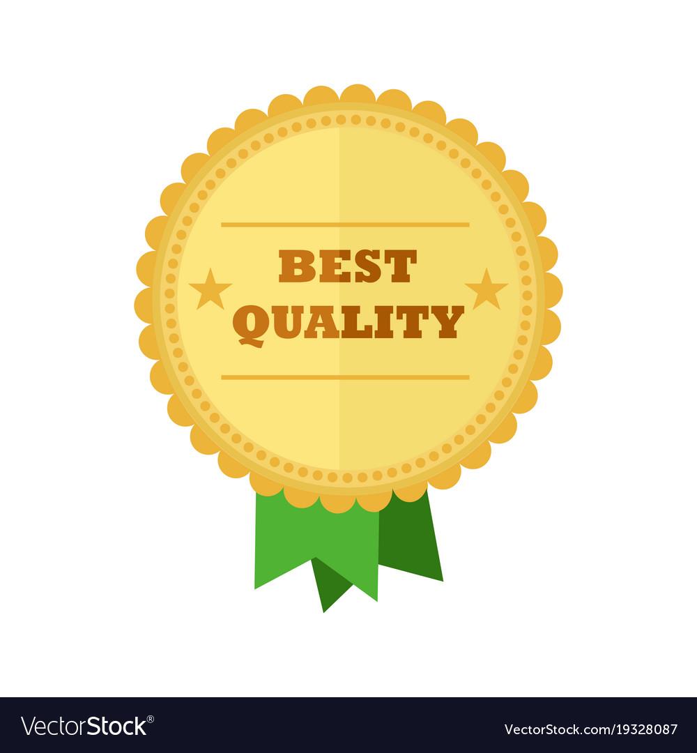 Best quality gold medal vintage badge emblem vector image