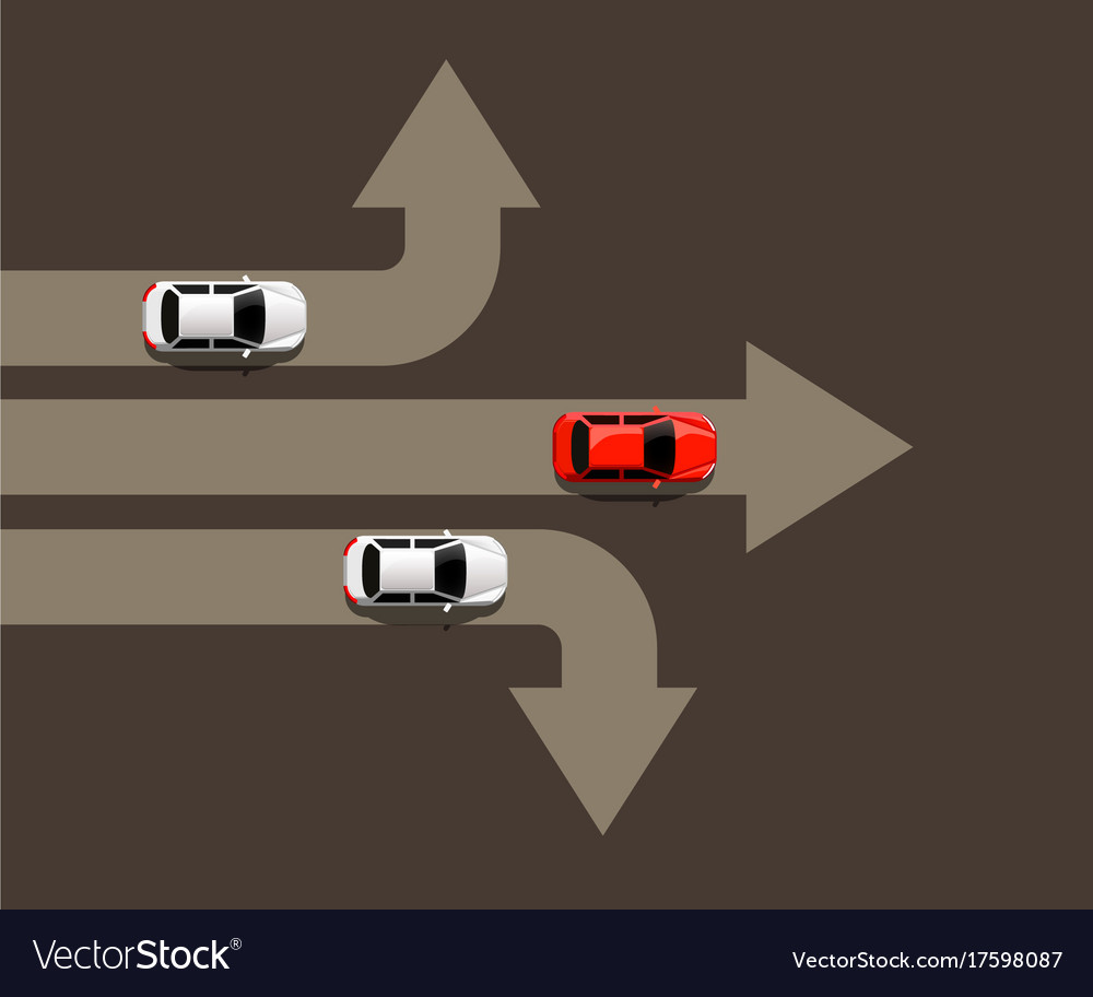 Car moving in different directions leader concept