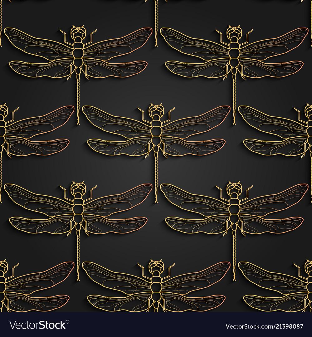 Dragonfly pattern black gold pattern design