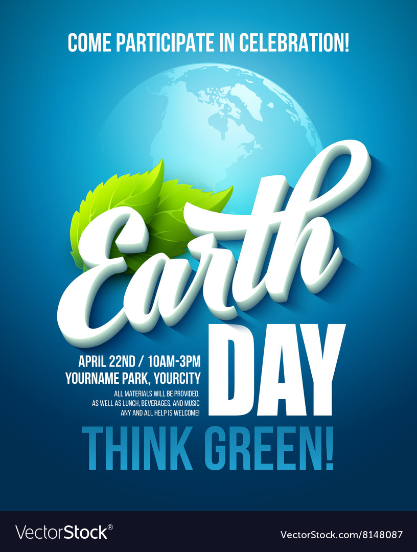 Earth Day poster with the