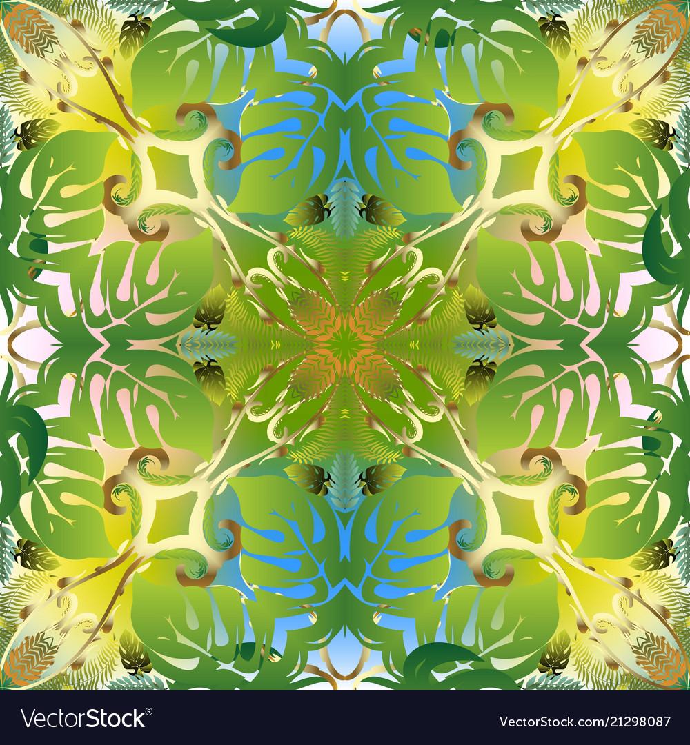 Floral green tropic palm seamless pattern