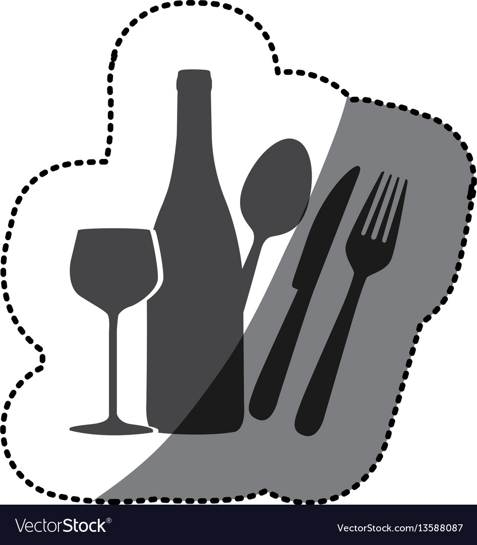 Grayscale wine bottle glass and cutlery icon