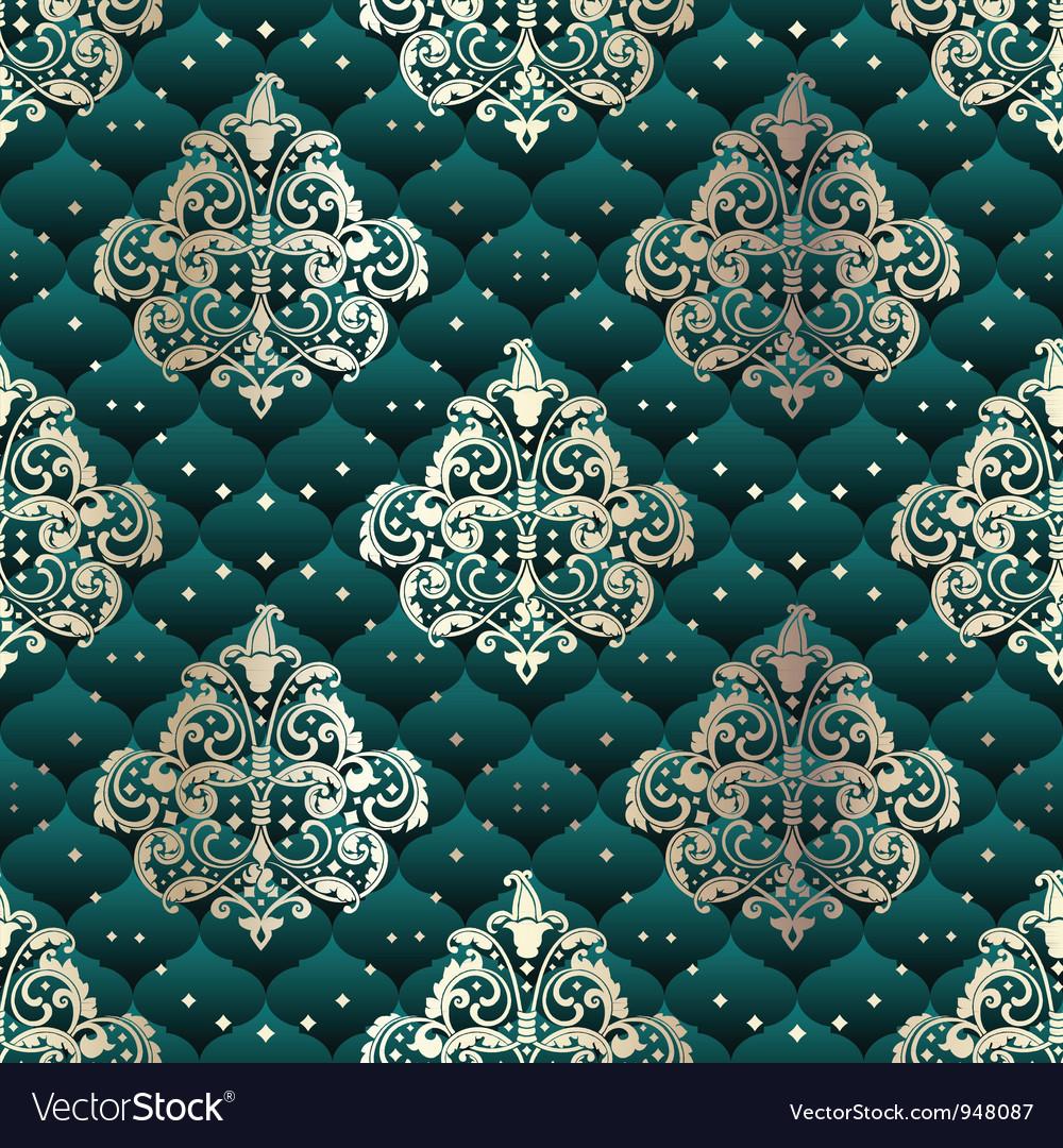 Green seamless Rococo floral