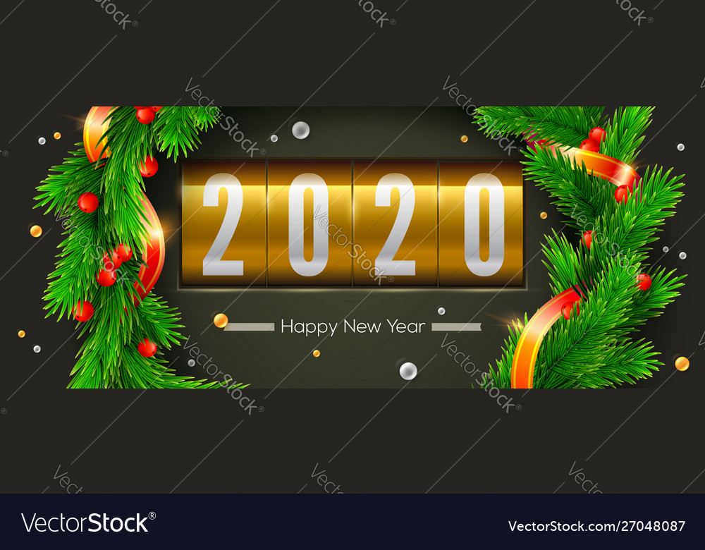 Greetings card with christmas or new year 2020