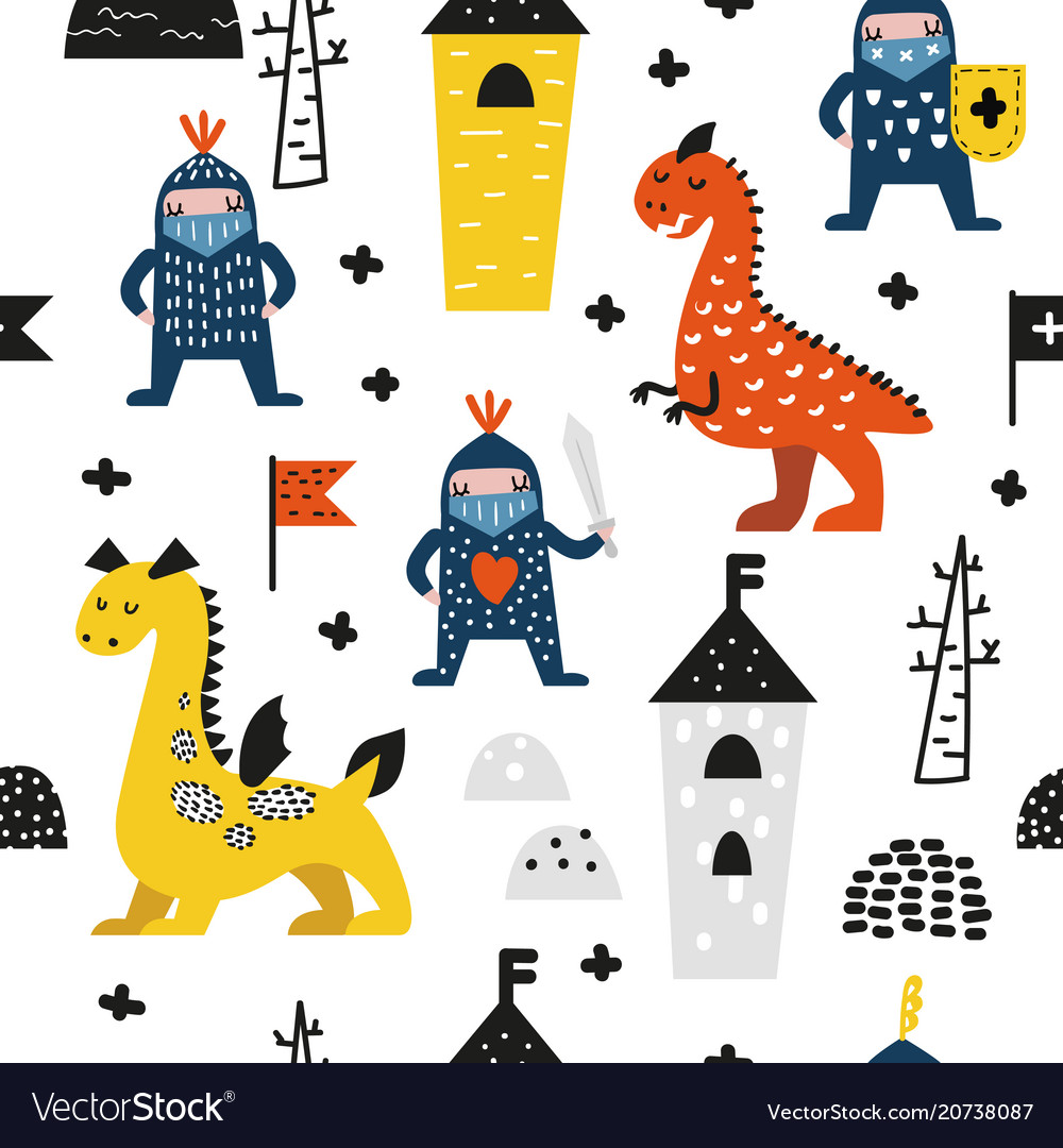 Hand drawn seamless pattern dragons and knights