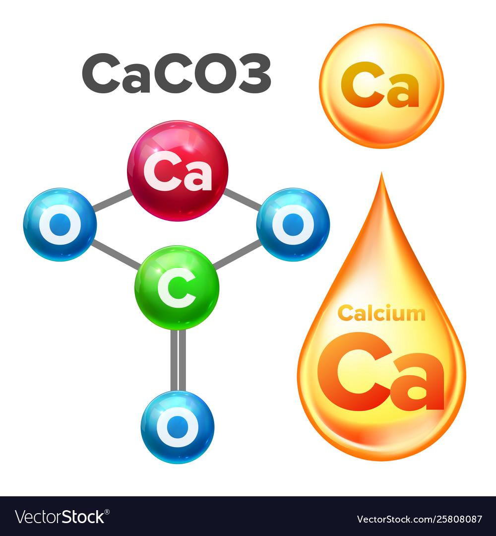 Molecular Structure Calcium Carbonate Caco3 Vector Image