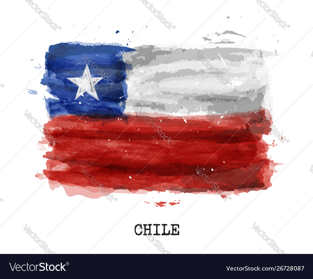 Realistic watercolor painting flag chile