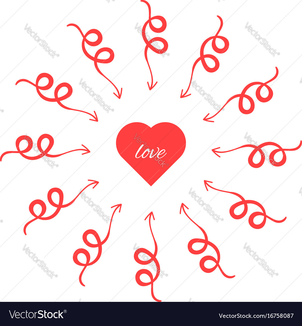 Red heart with arrows around vector image