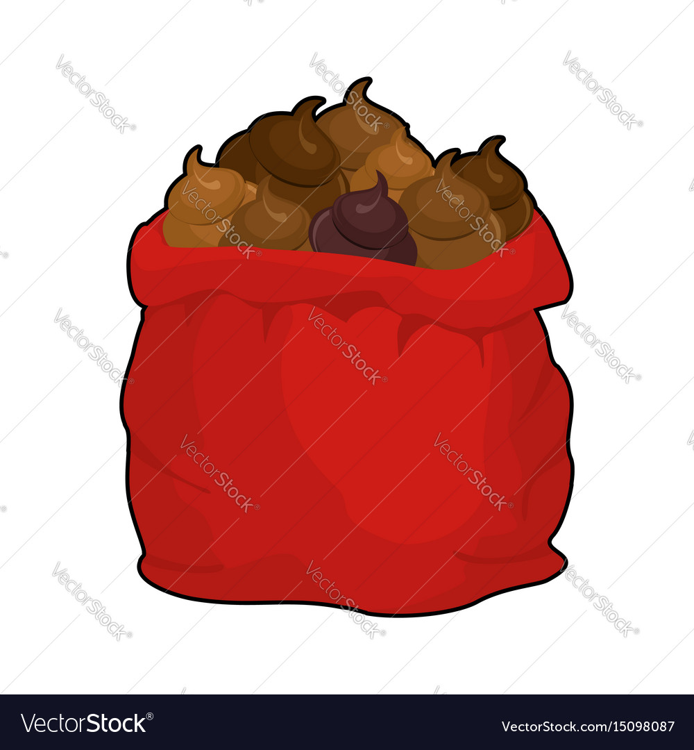 Santa shit bag full sack turd big red christmas