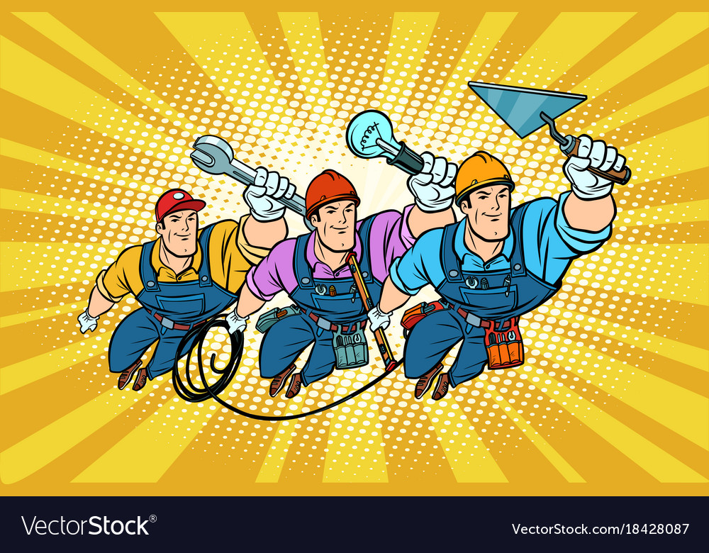 Set electrician builder and repairer professionals vector image