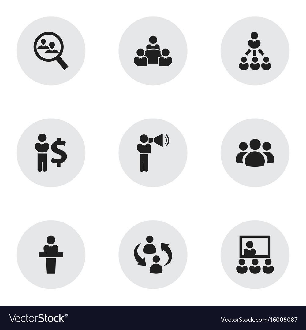 Set of 9 editable team icons includes symbols