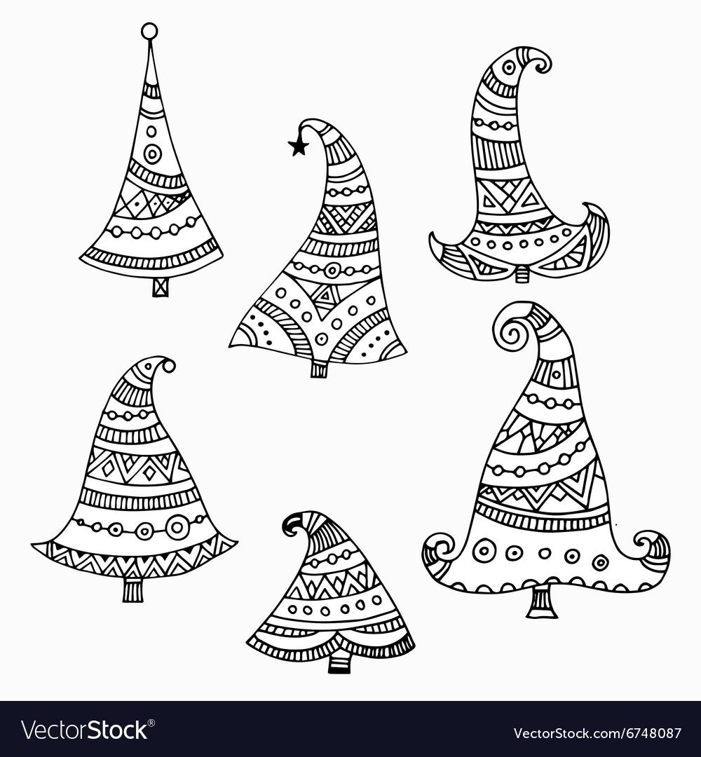 Set of six black outline decorative hand drawn