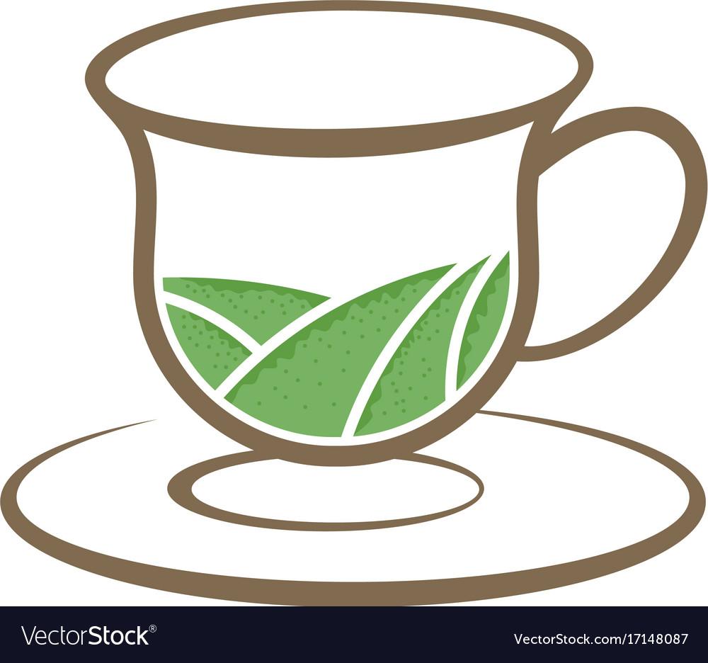 Tea organic cup vintage logo