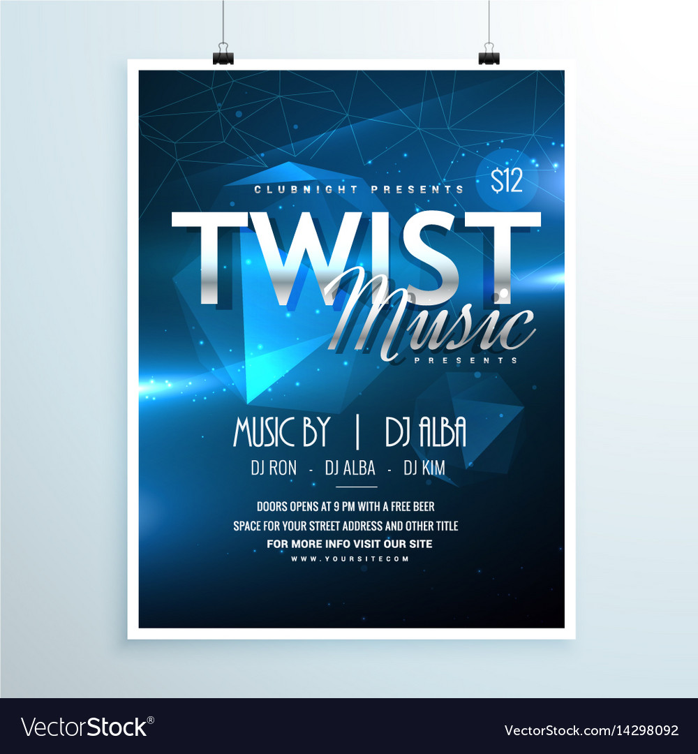 Abstract music party flyer template invitation in