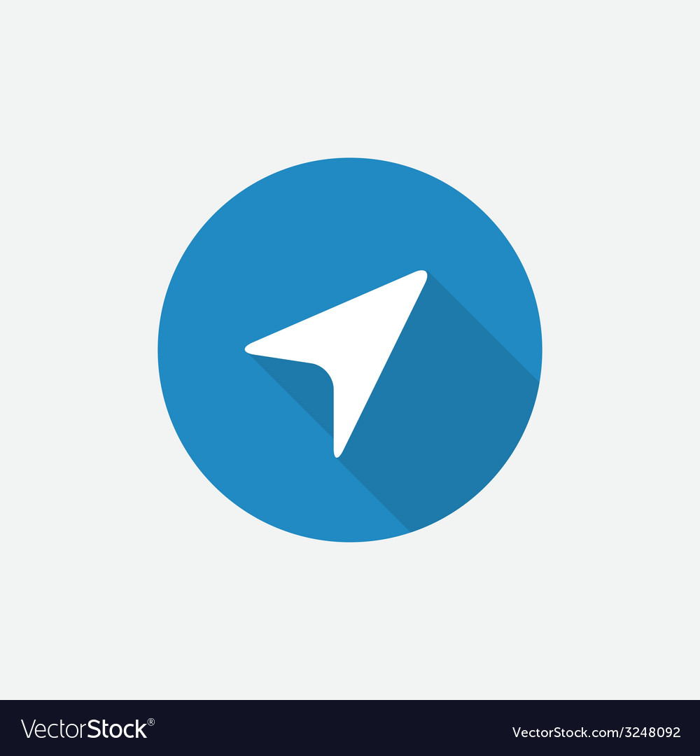 Arrow pointer flat blue simple icon with long
