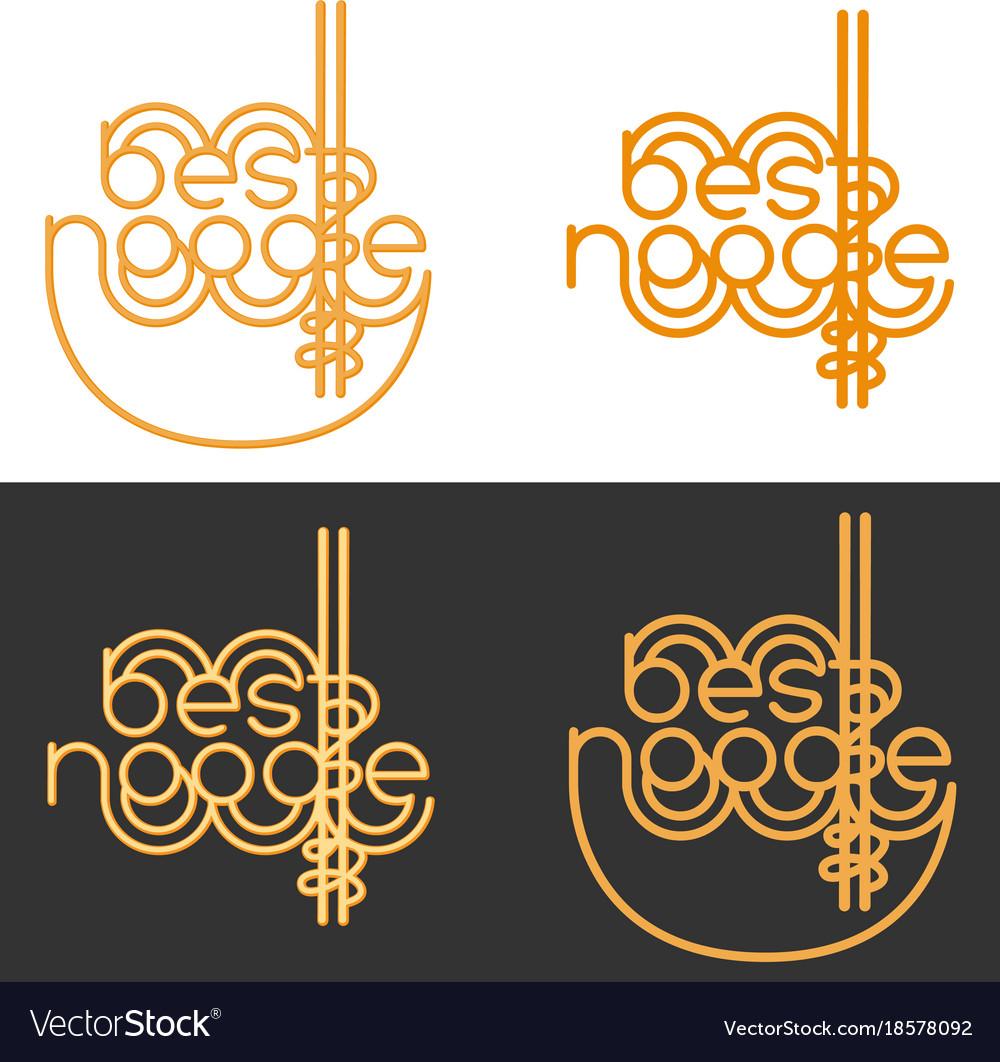 Best noodle logo sign for noodle cafe bar fast vector image