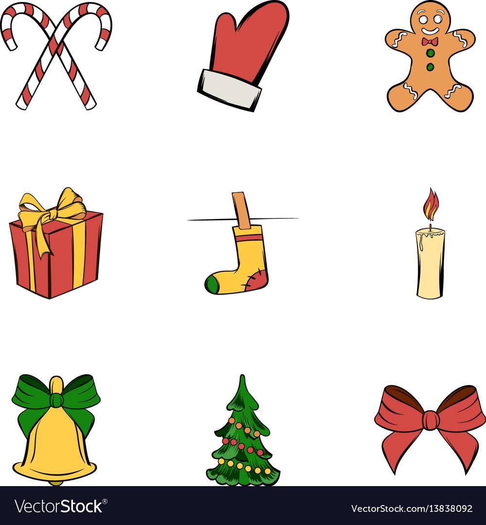 Christmas icons set cartoon style