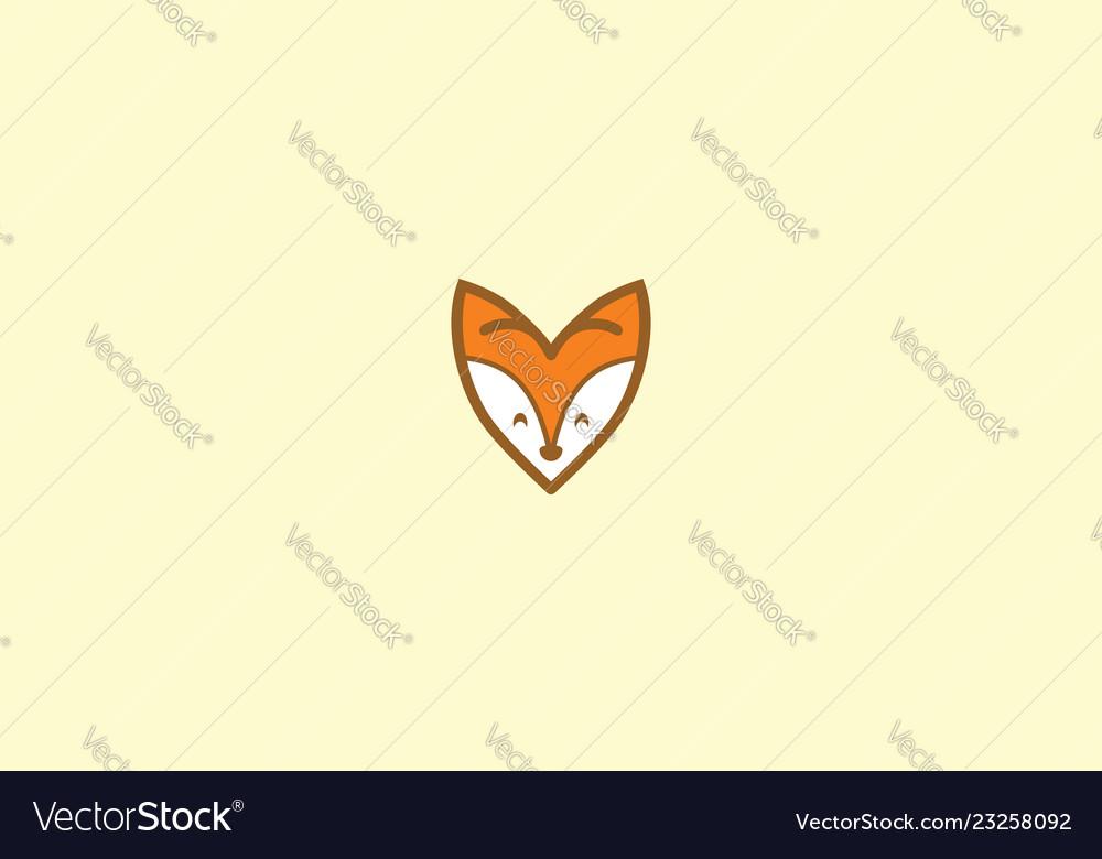 Cute fox love logo icon