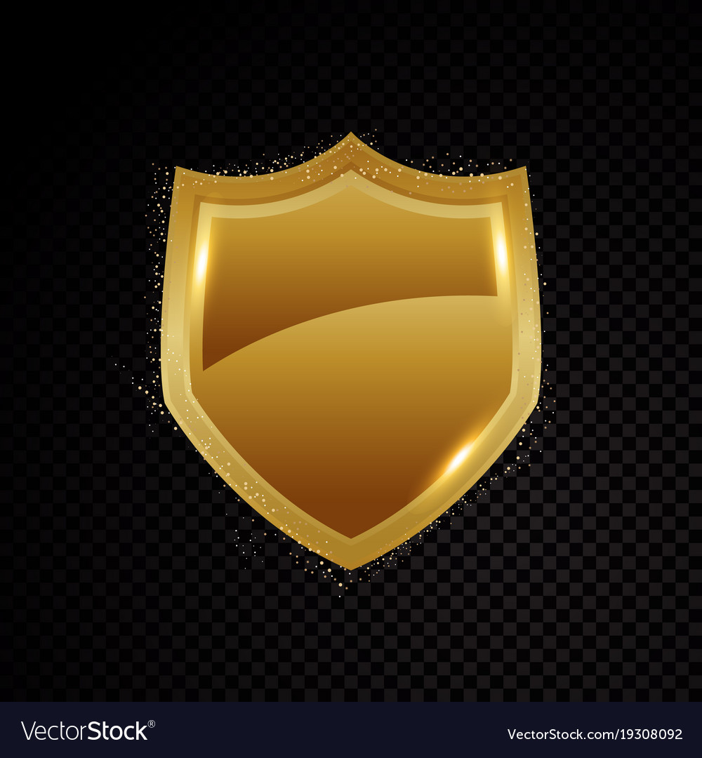 Gold brightly shield glowing security protection