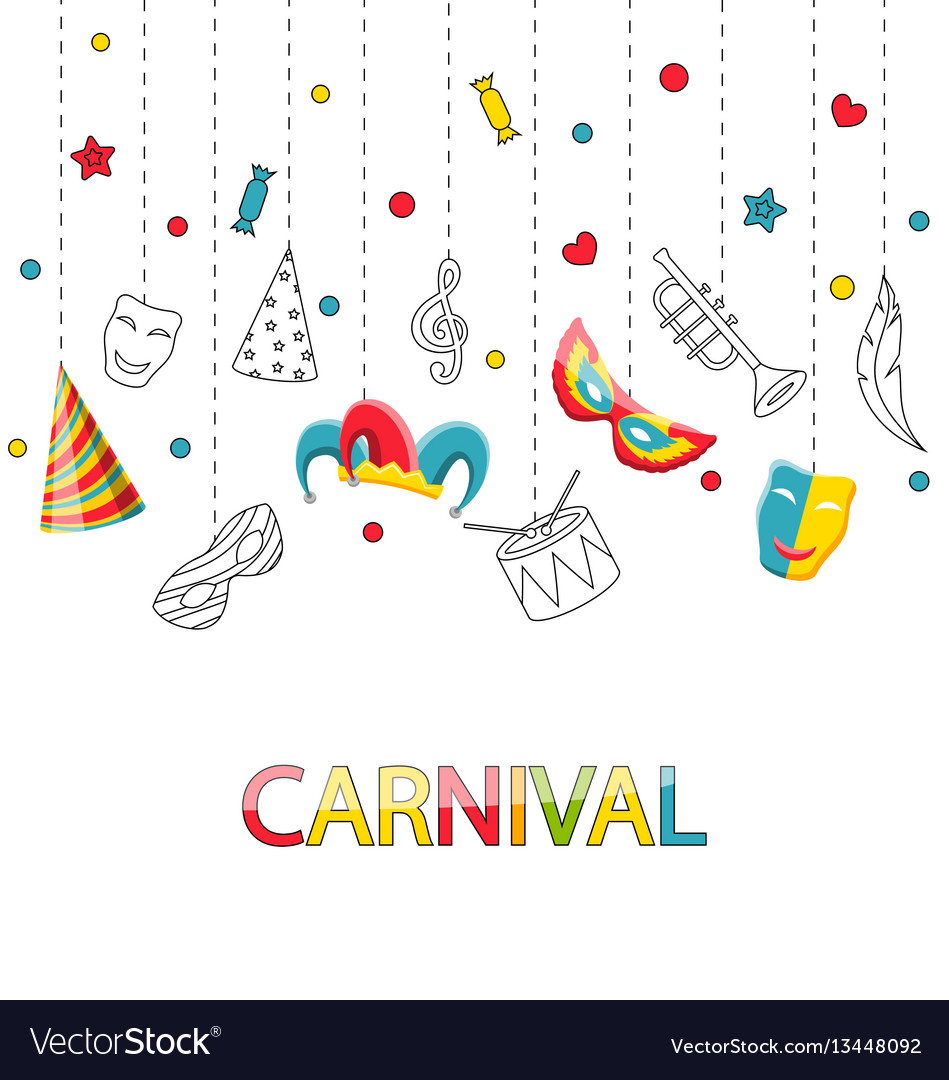 Greeting festive poster for happy carnival