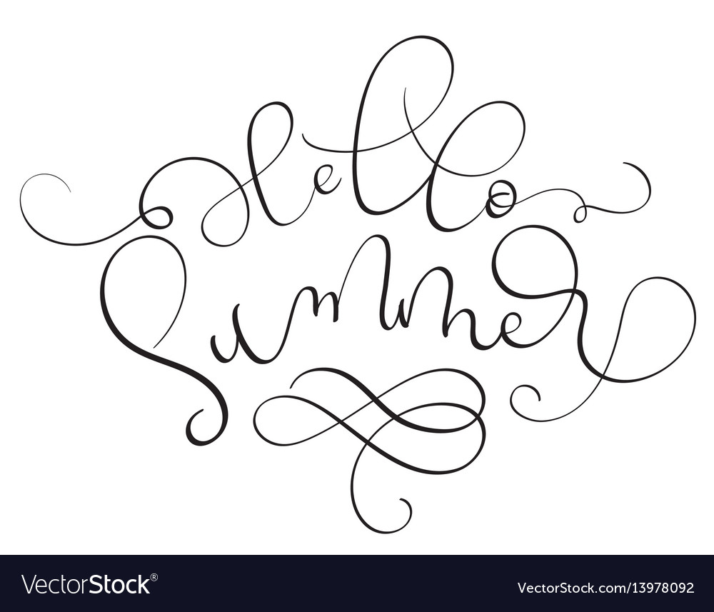 Hello summer text on white background hand drawn