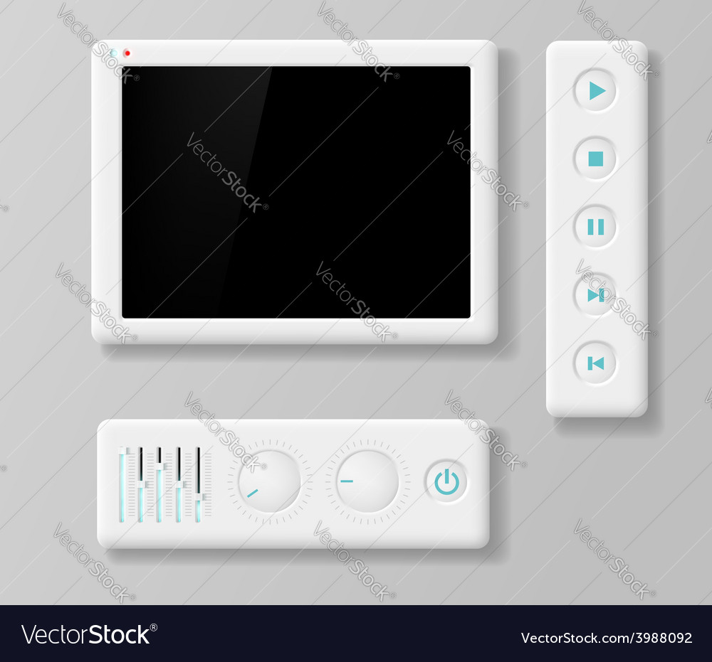 Media player buttons and screen vector image